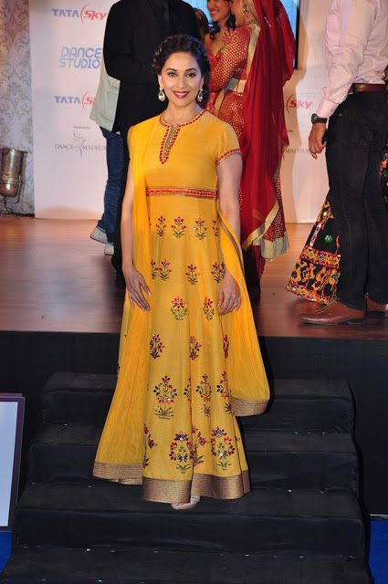 Madhuri Dixit in Yellow Long Anarkali at Tata Sky Madhuri Dance Studio