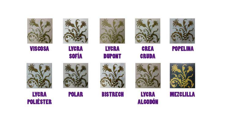 Muestras proceso de estampado con plastisol terminadas en distintas telas.