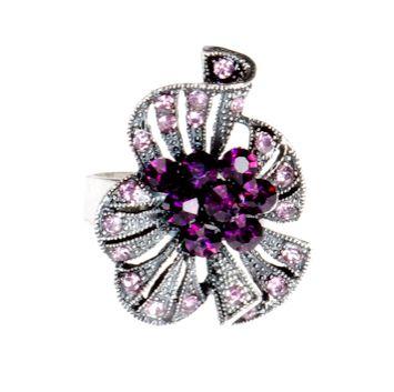 Pierścionek Vintage z Fioletowymi Kryształkami Amethyst #ring #vintage #pierscionek