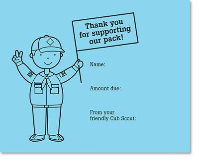 * Cub Scout printable thank you tags from spotgirl-hotcakes.blogspot.com