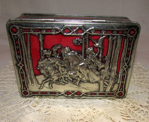 Vintage Riley39s Toffee Tin English Candy Box Hinged Lid