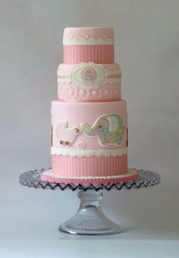 Beautiful cakes for girl baby showers fondant baby girl for Baby cakes decoration ideas