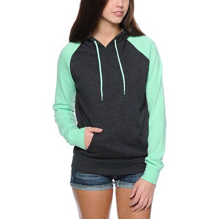 Mint Green raglan sleeves contrast the Charcoal Grey body in the Zine Raglan pullover hoodie for women.