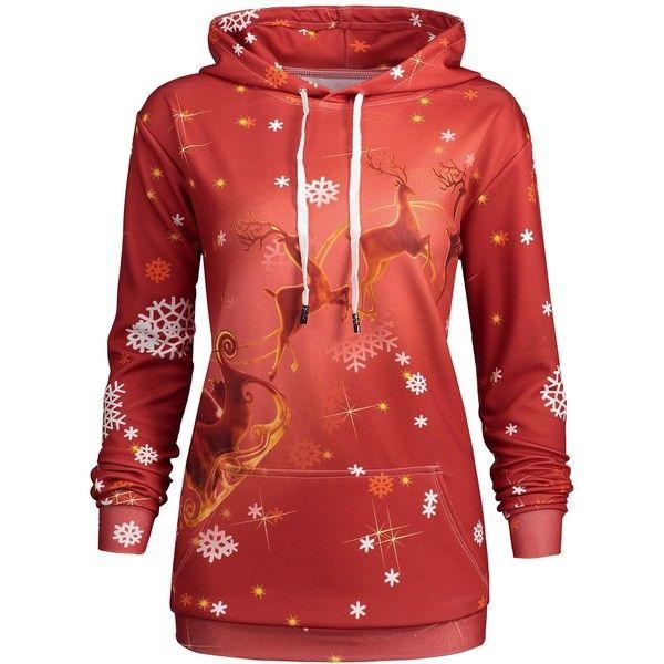 Plus Size Kangaroo Pocket Christmas Deer Hoodie ($21) ❤ liked on Polyvore featuring tops, hoodies, womens plus hoodies, plus size womens hoodie, hooded sweatshirt, plus size tops and christmas hoodie