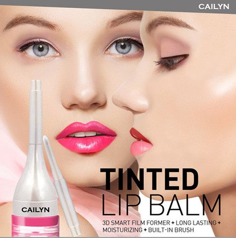 Cailyn Tinted Lip Balm: 3D smart film former + long lasting + high impact colours + built-in brush www.cherryblooms.com.au
