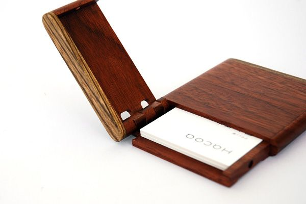 Classy wooden business card holder.