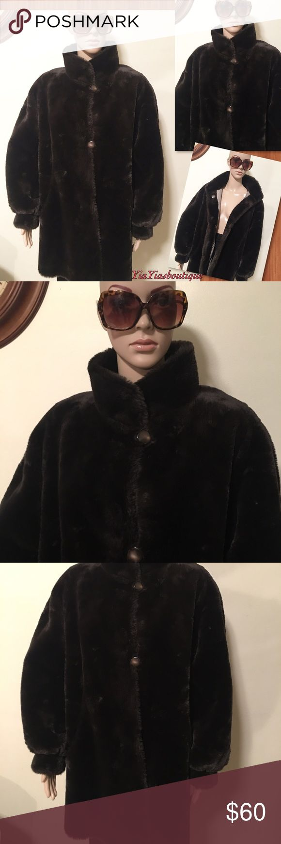 Dark brown Faux Fur Coat Dark brown 3/4 Faux Fur coat Vintage Jackets & Coats