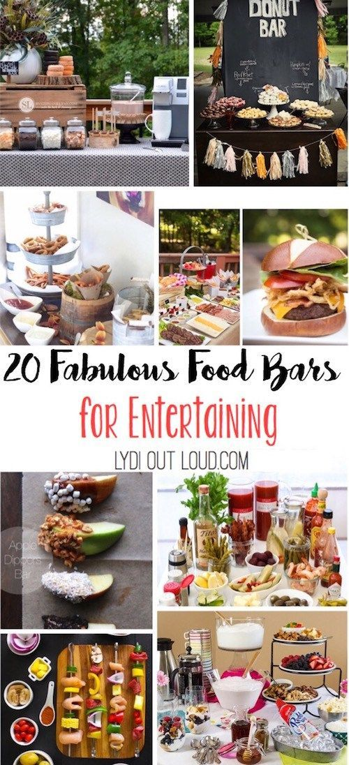 These food bars would all be so fun for parties, showers and weddings!
