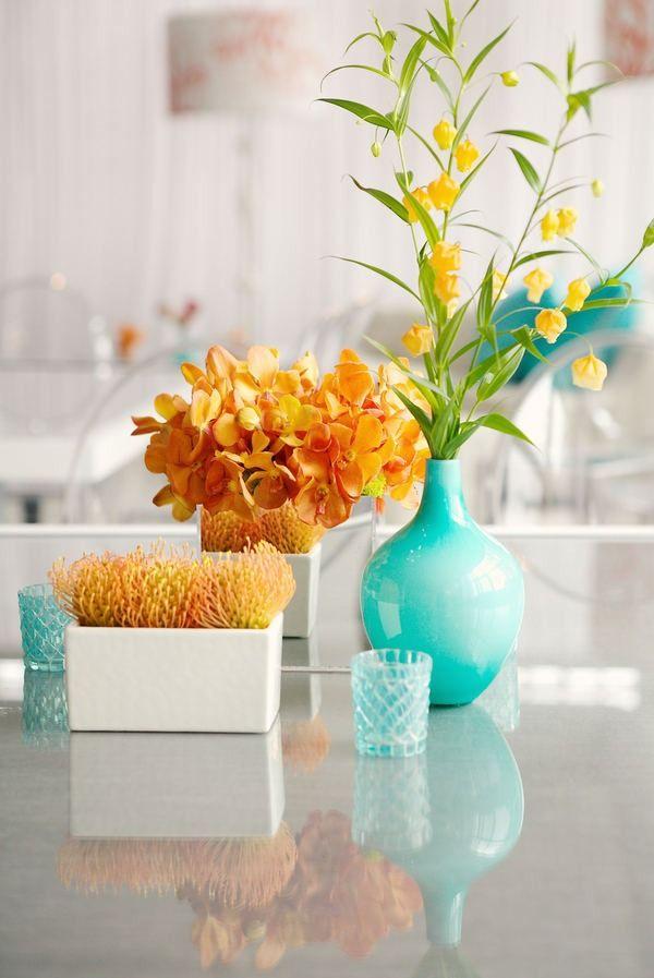 73 best orange and teal wedding flowers images on - Orange and teal decor ...