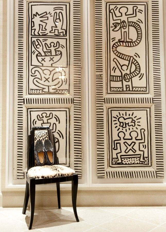 """""""The doors are Keith Haring originals from his own NYC apartment."""" http://www.thecoveteur.com/tommy-and-dee-hilfiger/"""