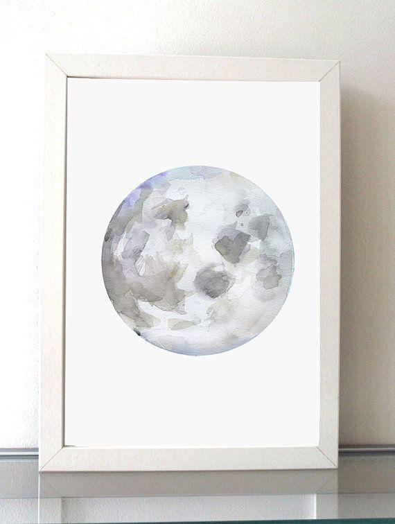Maan Schilderij  giclee print  lila paars  Maan door Zendrawing