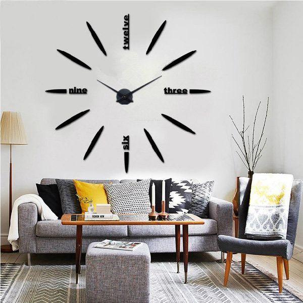 New Mural Leaf Round Crystal Mirror Wall Clock DIY Acrylic