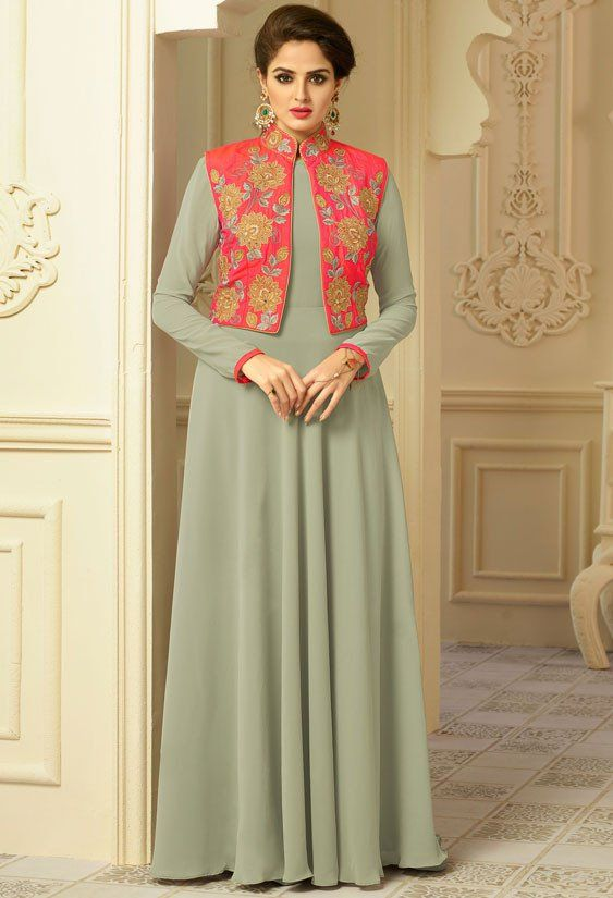 3efacd39d8c Magnificent Moss Green and Coral Red Gown