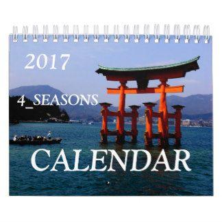 日本の四季の写真を詰め合わせ☆トップ写真は、宮島の大鳥居☆日本版 カレンダー
