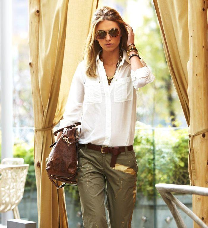 White shirt, brown bag, brown belt, Khaki pants
