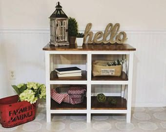 Farmhouse entryway table furniture, X rustic Farmhouse decor, country Shaker Cottage small wooden table White brown gray