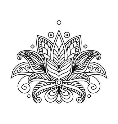 Persian or turkish paisley flower henna lotus vector by Seamartini ...