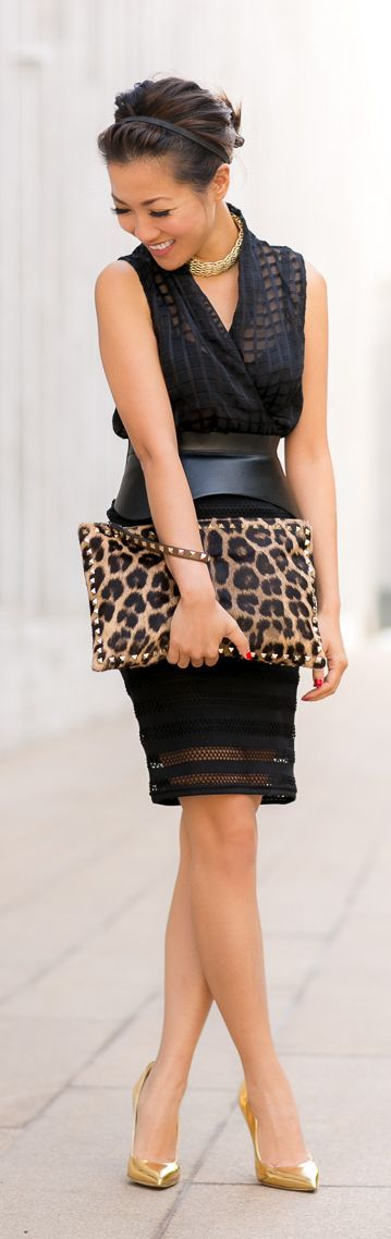 New York :: Striped Cutout Skirt  Metallic Details by Wendys Lookbook