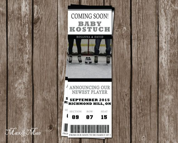 Baby Announcement Ticket Hockey Baby by MaxandMaeInvites on Etsy