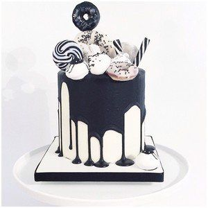 Top With Green Purple And Black And White Candy Monochrome Cake