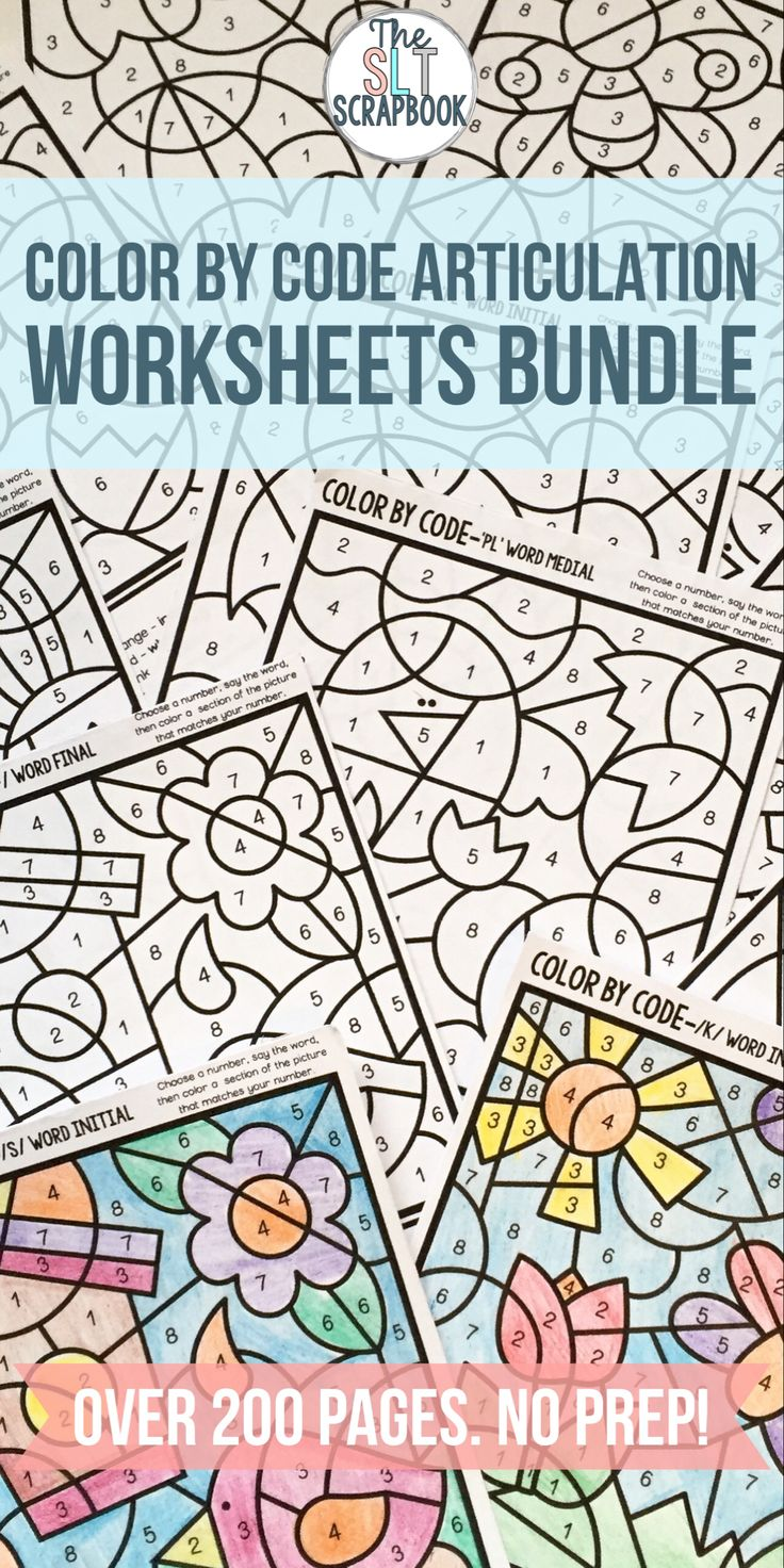 Coloring activities speech therapy - Color By Code Speech Sound Bundle For All Speech Sounds No Prep Therapy Activitiestherapy