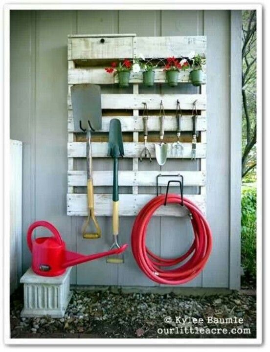 Recycled pallet into a garden tool storage solution  #garden #shed #storage…