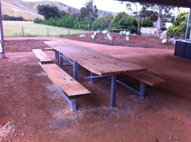 Glenburn Picnic Table made from Single Slab of Timber 5m long and 1m wide