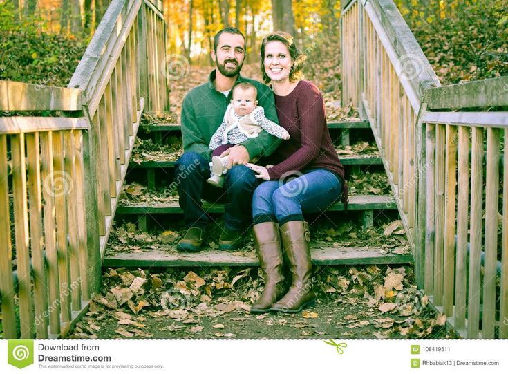 Family On Stairs Covered With Fall Leaves Stock Image - Image of forest, golden: 108419511