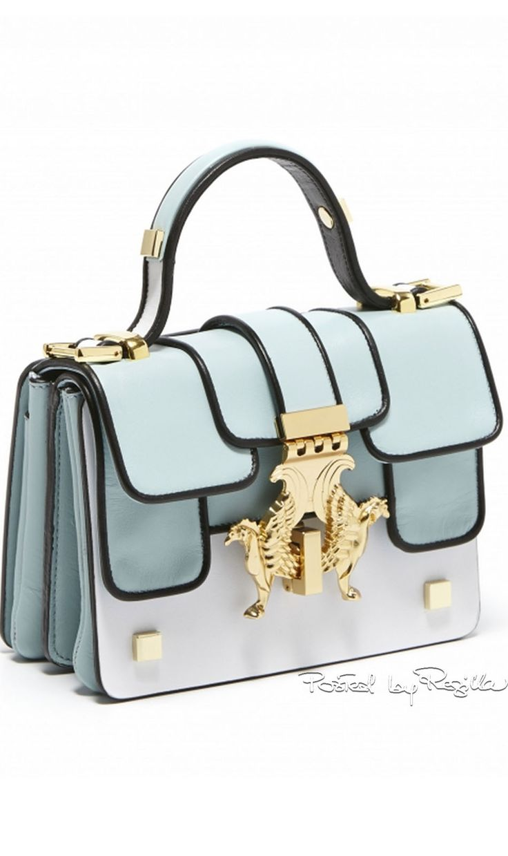Giancarlo Petriglia ~ Mini P Bag Brush Calf Leather, Pale Blue Summer 2015