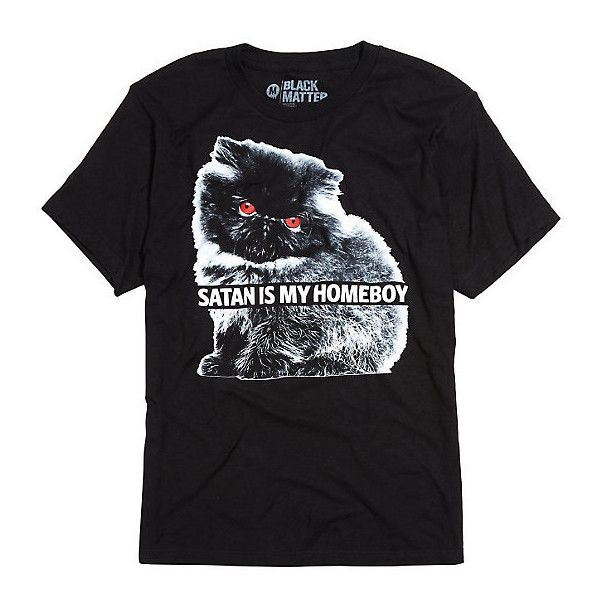 Satan Is My Homeboy T-Shirt Hot Topic ($16) ❤ liked on Polyvore featuring tops, t-shirts, cat t shirt, cotton t shirts, dot t shirt, polka dot top and cat print top