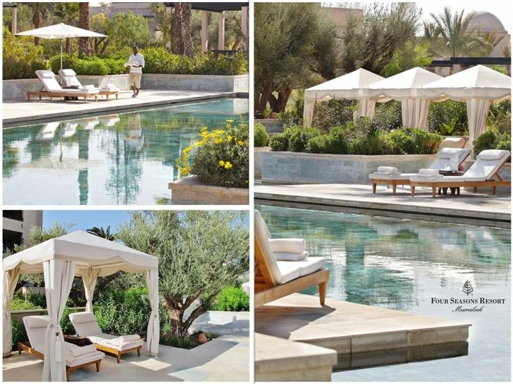 Private cabanas by the quiet pool