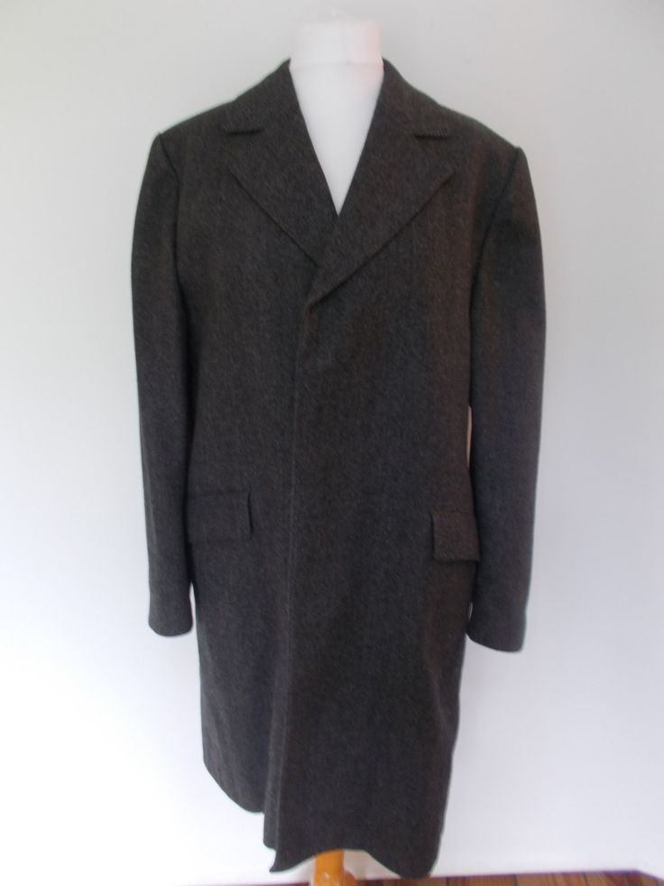 "25% Off Sale Vintage 60s mens Overcoat winter Coat business coat by Dhobi made in England Grey wool winter coat Size 40"" chest medium by BidandBertVintageMen on Etsy"