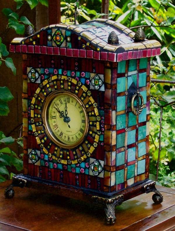 """Teal Thy Self"" mosaic clock"