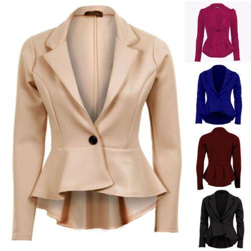 Ladies Plain Long Sleeve One Button Peplum Frill Blazer Tail Back Top Jacket…