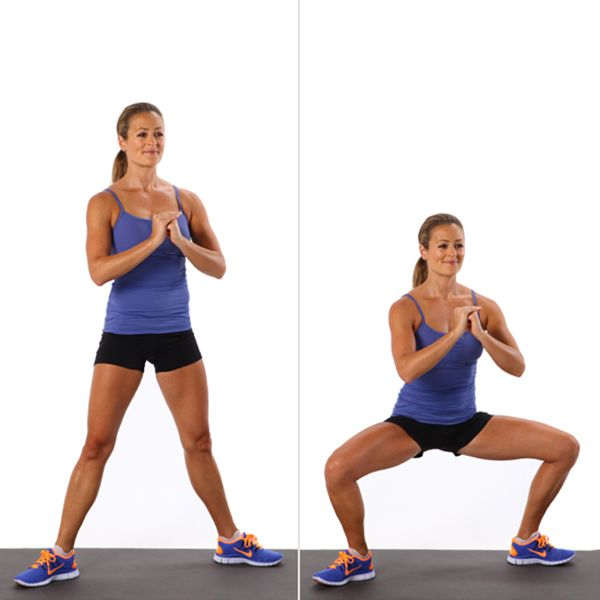 Sumo Squat: Widening your legs as you do in the sumo squat (aka plié squat) helps you work your glutes even more. Raise the bar by adding arm-sculpting bicep curls.