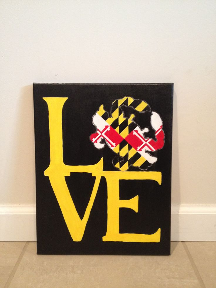 Maryland flag LOVE canvas Inspired by Free