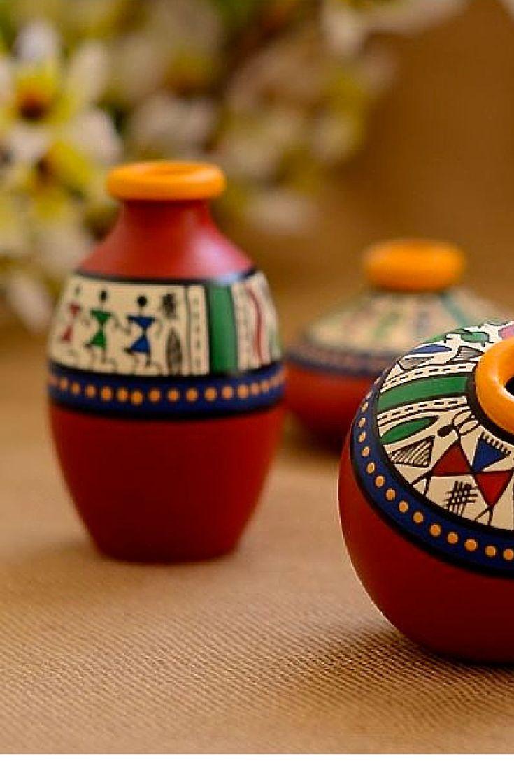 23 best warli art on terracotta items images on pinterest for Terracotta works pots