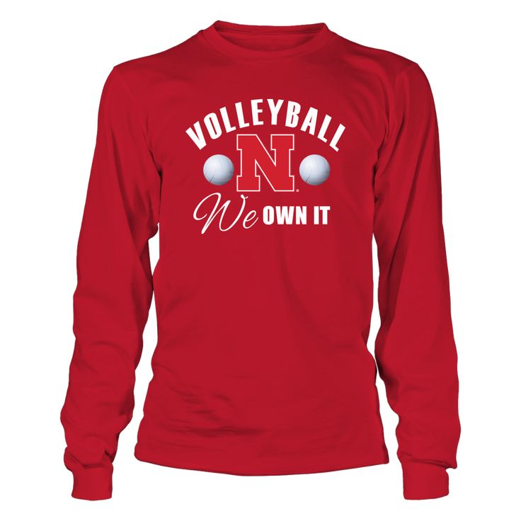 University Nebraska Volleyball - We Own It T-Shirt, _Officially Licensed University Nebraska Volleyball clothing and apparel _ Witness some of the best women's college volleyball in the country with the Nebraska Lady Huskers Volleyball team. Husker volleyball is almost fanatical in Big Red country with good reason. The Lady Huskers rule the floor... The Nebraska Cornhuskers Collection, OFFICIAL MERCHANDISE  Available Products:          Gildan Long-Sleeve T-Shirt - $33.95 District Women's…