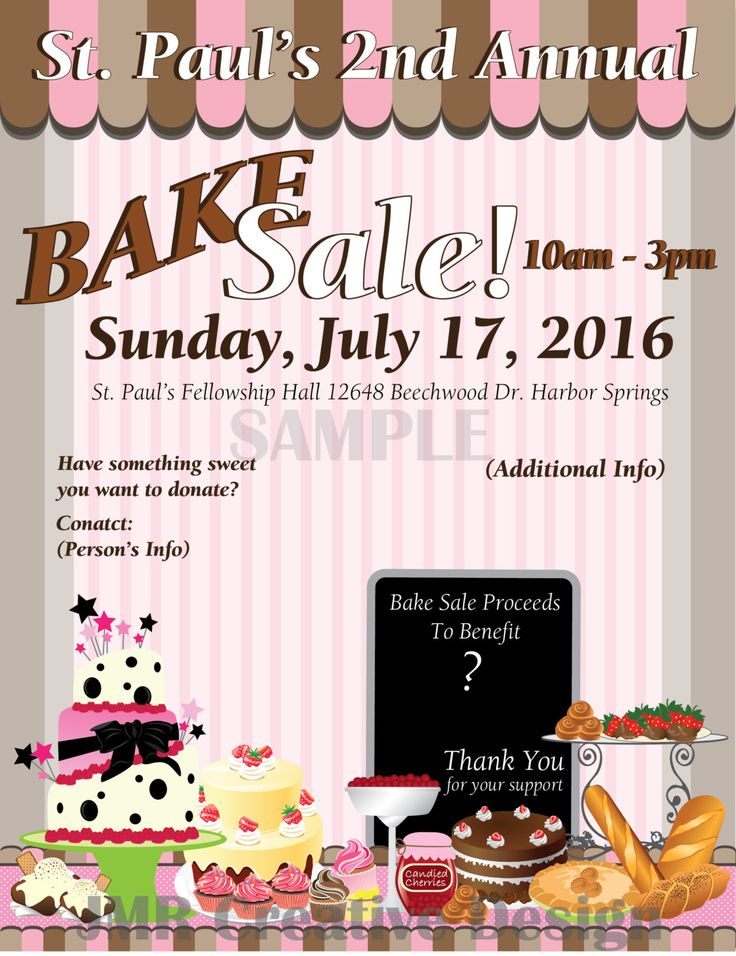 bake sale fundraiser flyer    sweet treats by