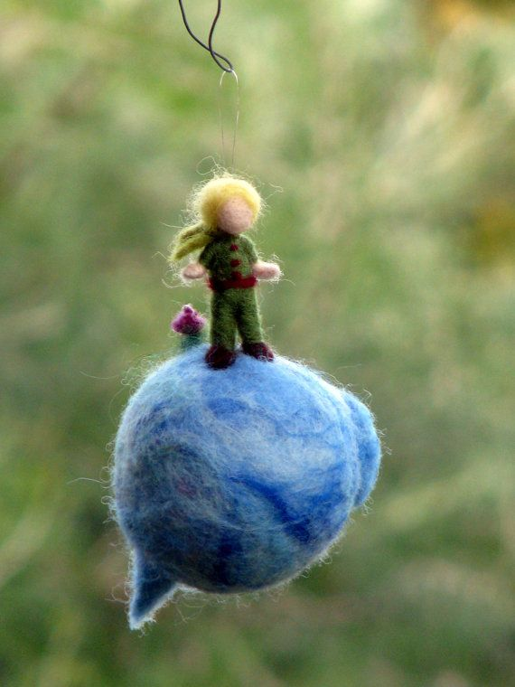 One of my favourite chracter, the Little boy as a Christmas ornament. Needle felted, Waldorf inspired. Tall about 4.5  Standing on his planet, Size of Prince: tall about 6 cm, 2.36, all ornament 12 cm, 4.7  Made to order