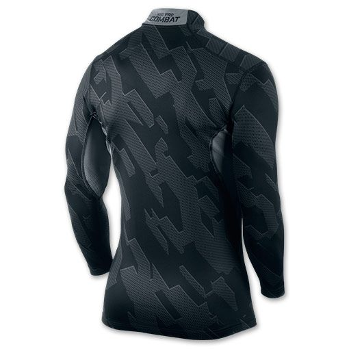 Men's Nike Pro Combat Hyperwarm Compression Chainmaille Shirt  | FinishLine.com | Black/Cool Grey