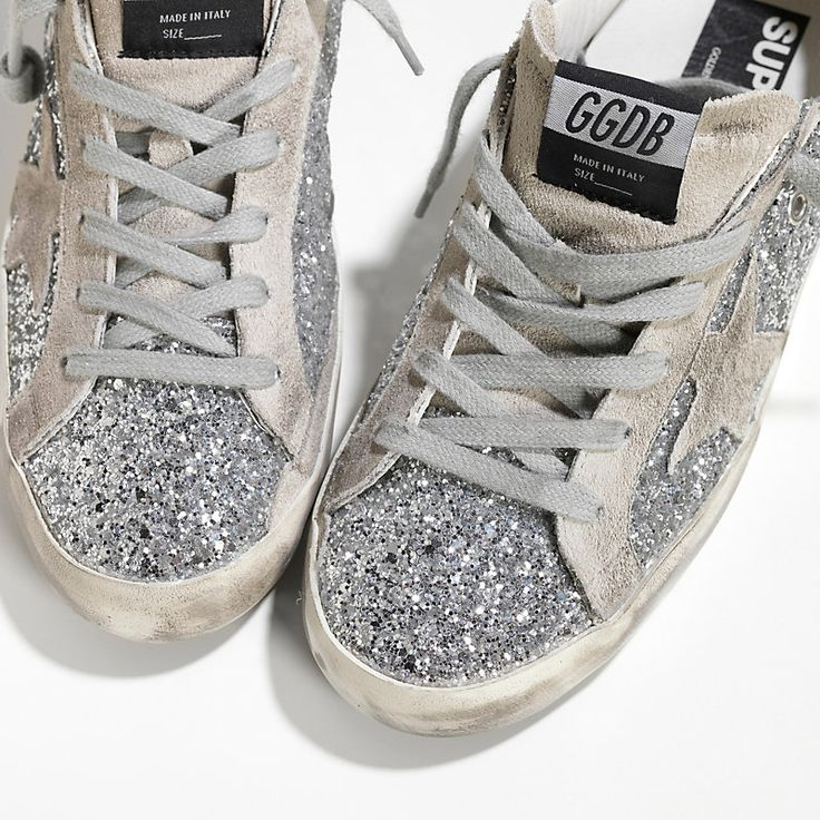 Sneakers SUPER STAR in Pelle spalmata all over glitter e Stella in Camoscio - G28WS590.A49 - Golden Goose