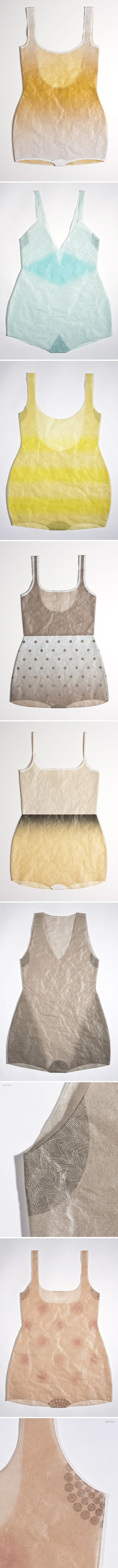 sewn paper, with printed ink... bathing suits by kristen martincic