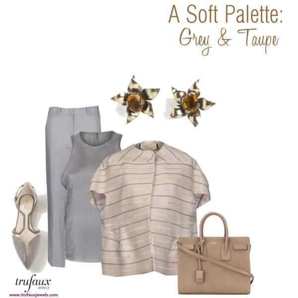 A Soft Palette: Grey & Taupe by trufaux on Polyvore featuring Golden Topaz & Vermeil Sterling Flower Retro Modern Earrings from TruFaux Jewels.
