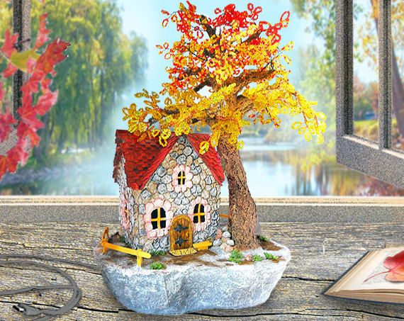 Nice Fairy house Night lamp Bedside lamp Kids lamps Beaded tree Usb