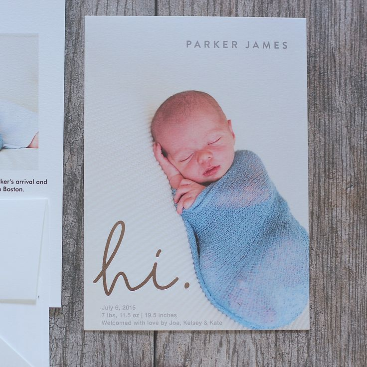 Sweet and simple baby boy birth announcement by Minted.