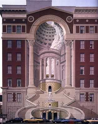 "I saw the artist paint this when I worked for Kenner Toys, across the street. It was painted by artist named Richard Haas on the facade of the Brotherhood building in Cincinnati, Ohio in year 1983. This Mural is real example of trompe l'oeil (""to deceive the eye"")."