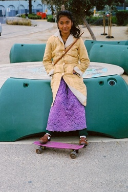 girl with skate board