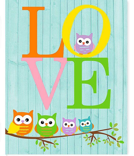 Owl Nursery Art Love Print Baby Room Decor by SweetPeaNurseryArt