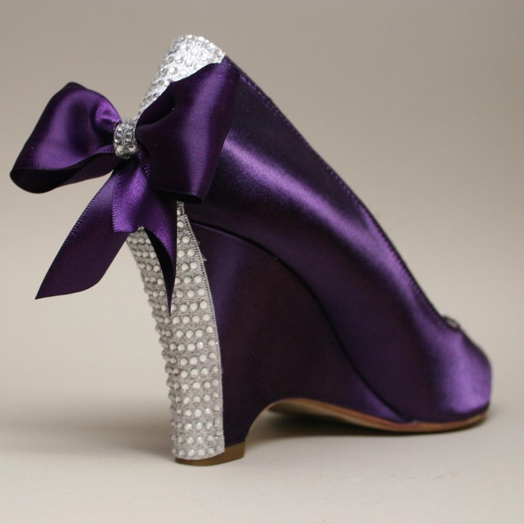 Wedding Shoes -- Purple Wedding Wedges with Purple Bow and Swarovski Rhinestone Heel. $215.00, via Etsy.